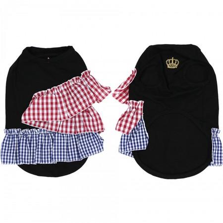 ストレッチ天竺ギンガムフリル王冠刺繍Tシャツ