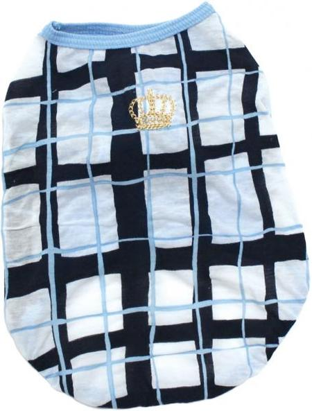 COOL塩縮加工チェック柄プリント王冠刺繍Tシャツ 30%オフ