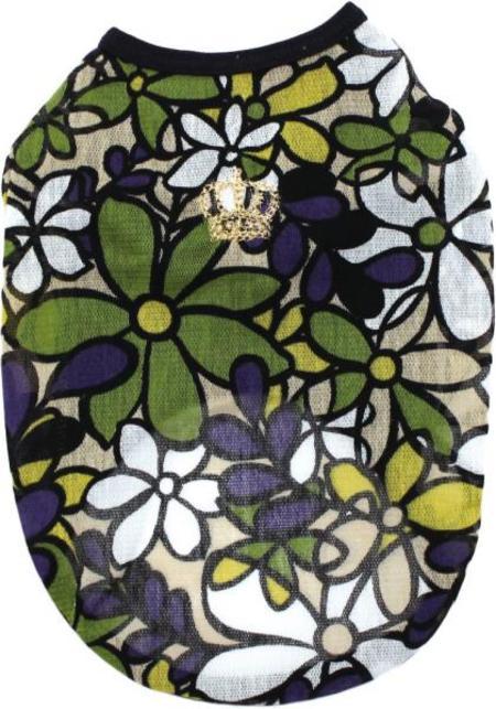 COOLチュールレース花柄プリント王冠刺繍Tシャツ 30%オフ