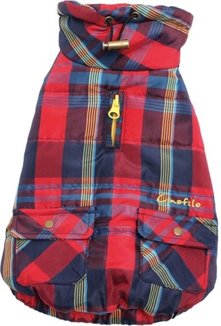 ポケット付き刺繍チェック柄中綿キルトハイネックSAD20490-35 30%オフ