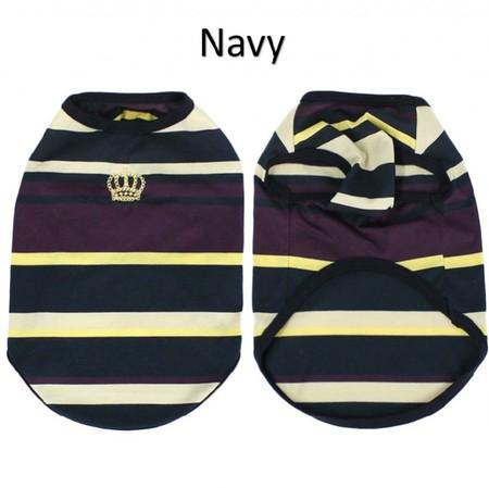 マルチカラーパネルボーダー王冠刺繍Tシャツ
