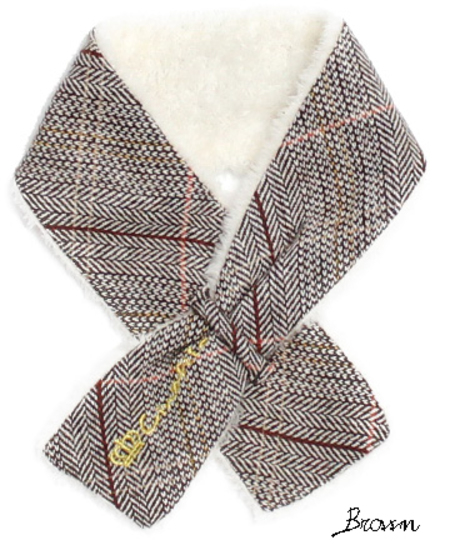ヘリンボーンボアゴールド刺繍マフラー(SAD30150-14)